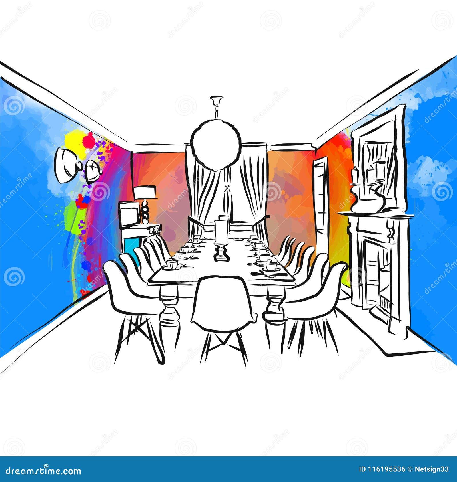 Concepto Colorido Del Dibujo Del Comedor Ilustración Del Vector