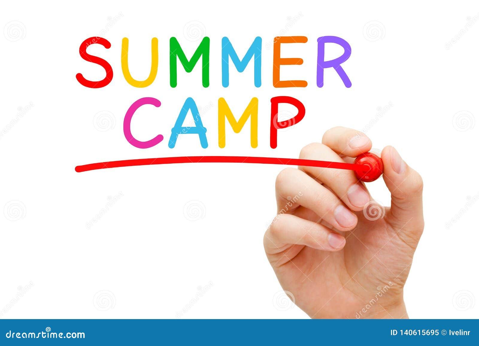 Concepto colorido manuscrito del campamento de verano
