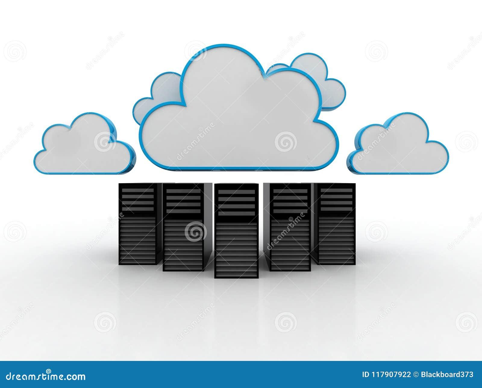 Concepto computacional de la nube, red de la nube representación 3d