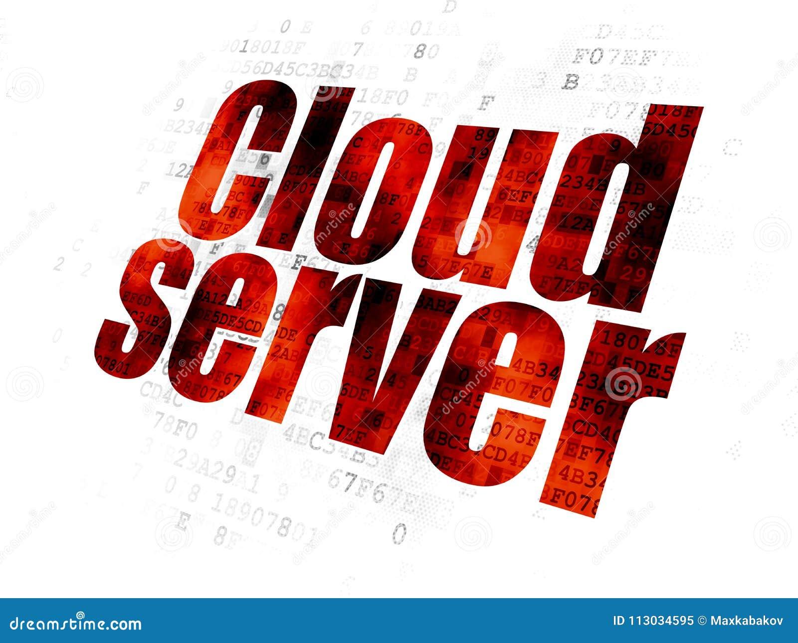 Concepto computacional de la nube: Servidor de la nube en el fondo de Digitaces