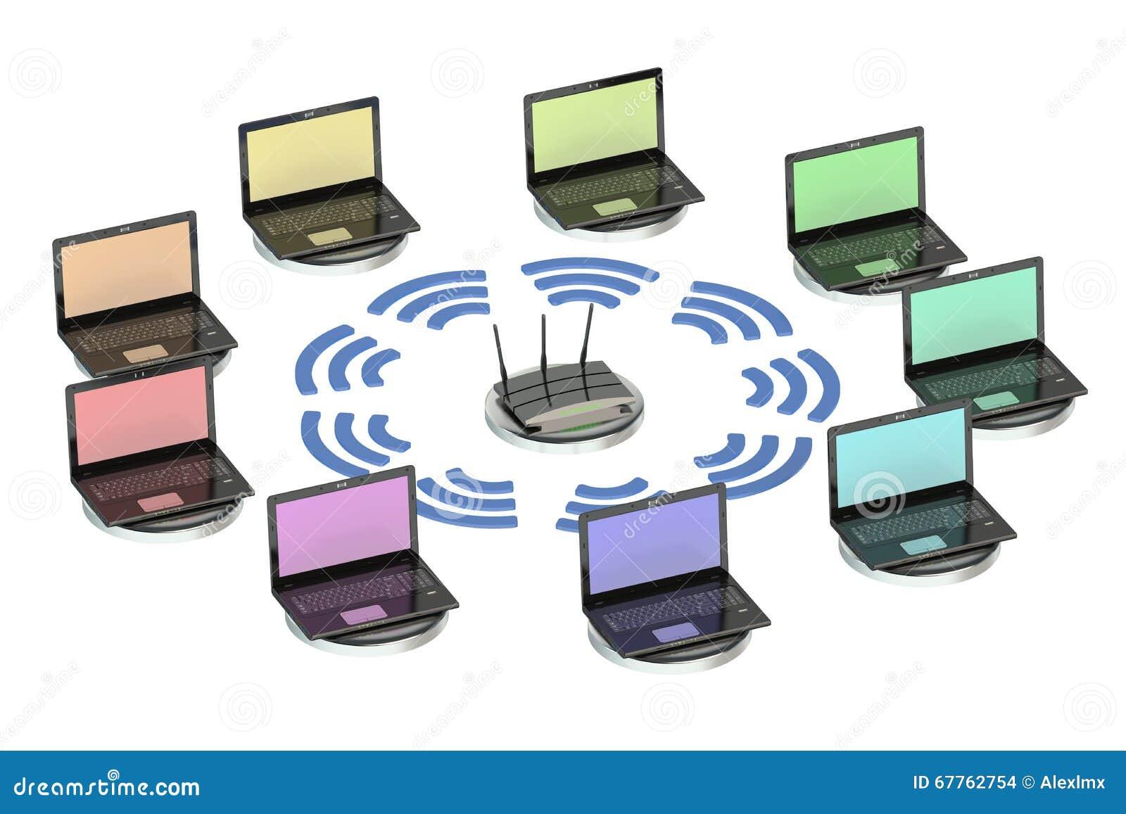 Concepto computacional de la red con el router y los - Fotos de ordenadores ...