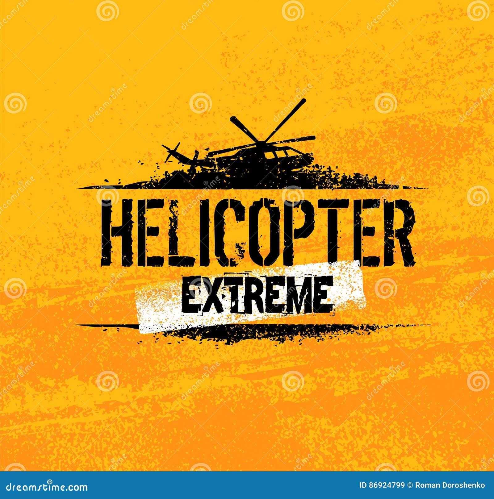 Concepto creativo de la bandera del vector del paseo extremo del helicóptero en fondo del Grunge
