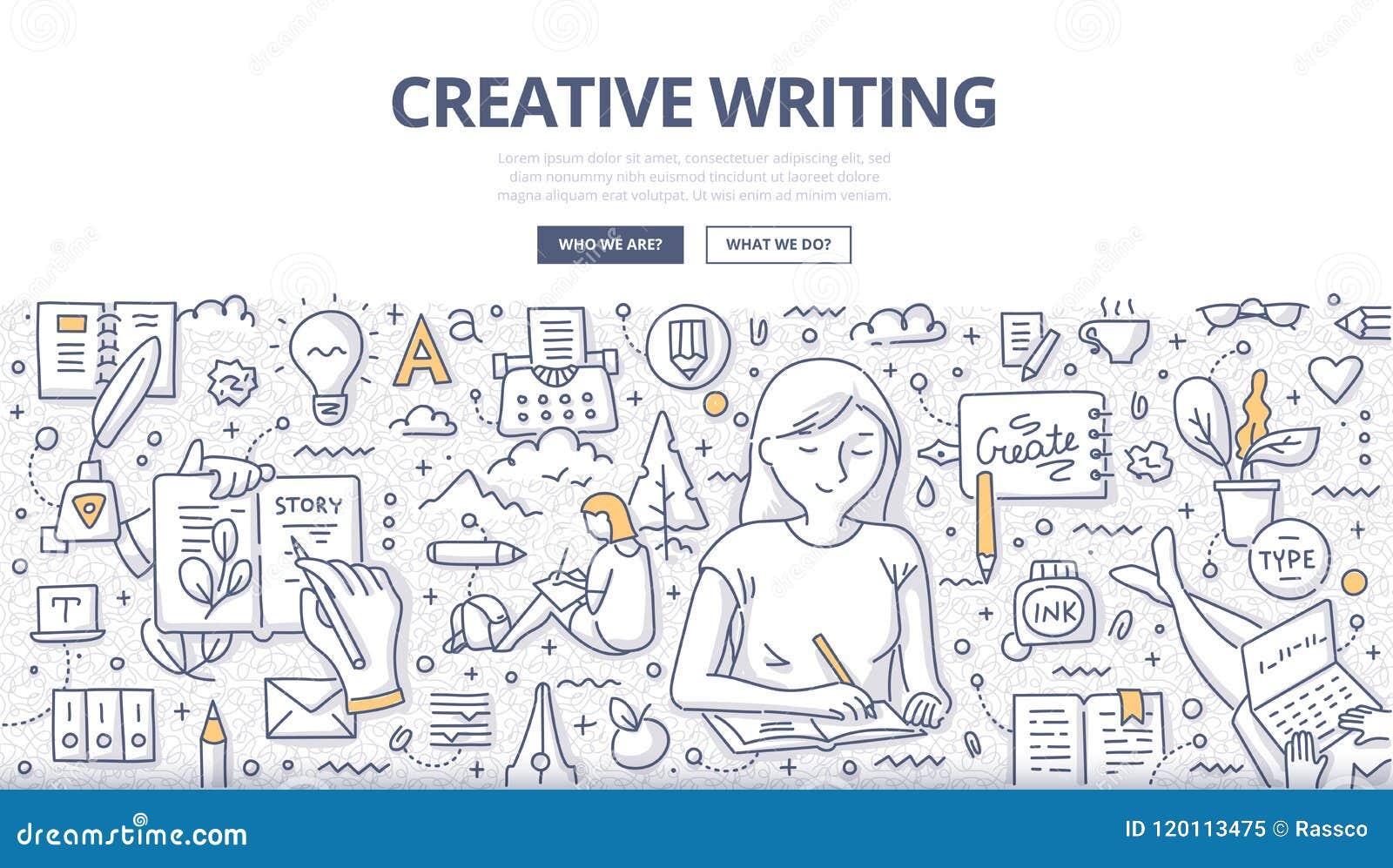 Concepto creativo del garabato de la escritura