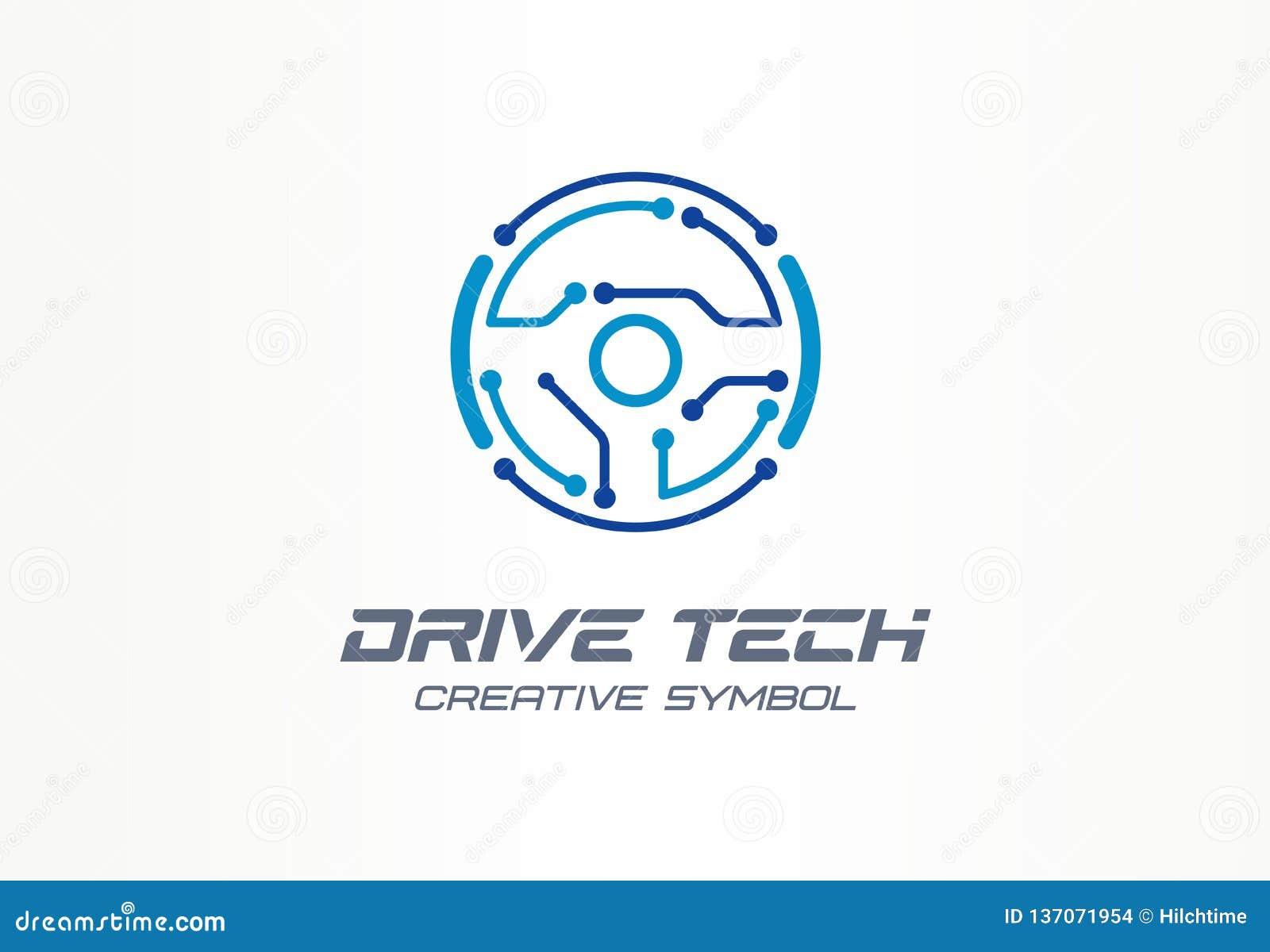 Concepto creativo del símbolo de la tecnología de la impulsión Coche autónomo, logotipo abstracto del negocio de la tecnología au