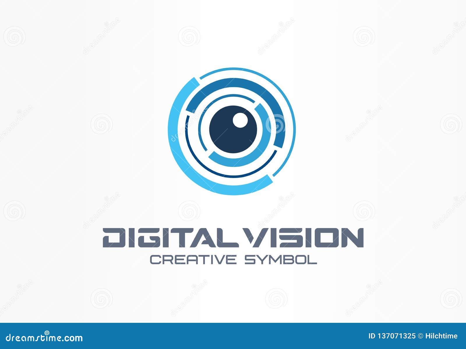 Concepto creativo del símbolo de la visión de Digitaces Exploración del iris del ojo, logotipo del negocio del extracto del siste