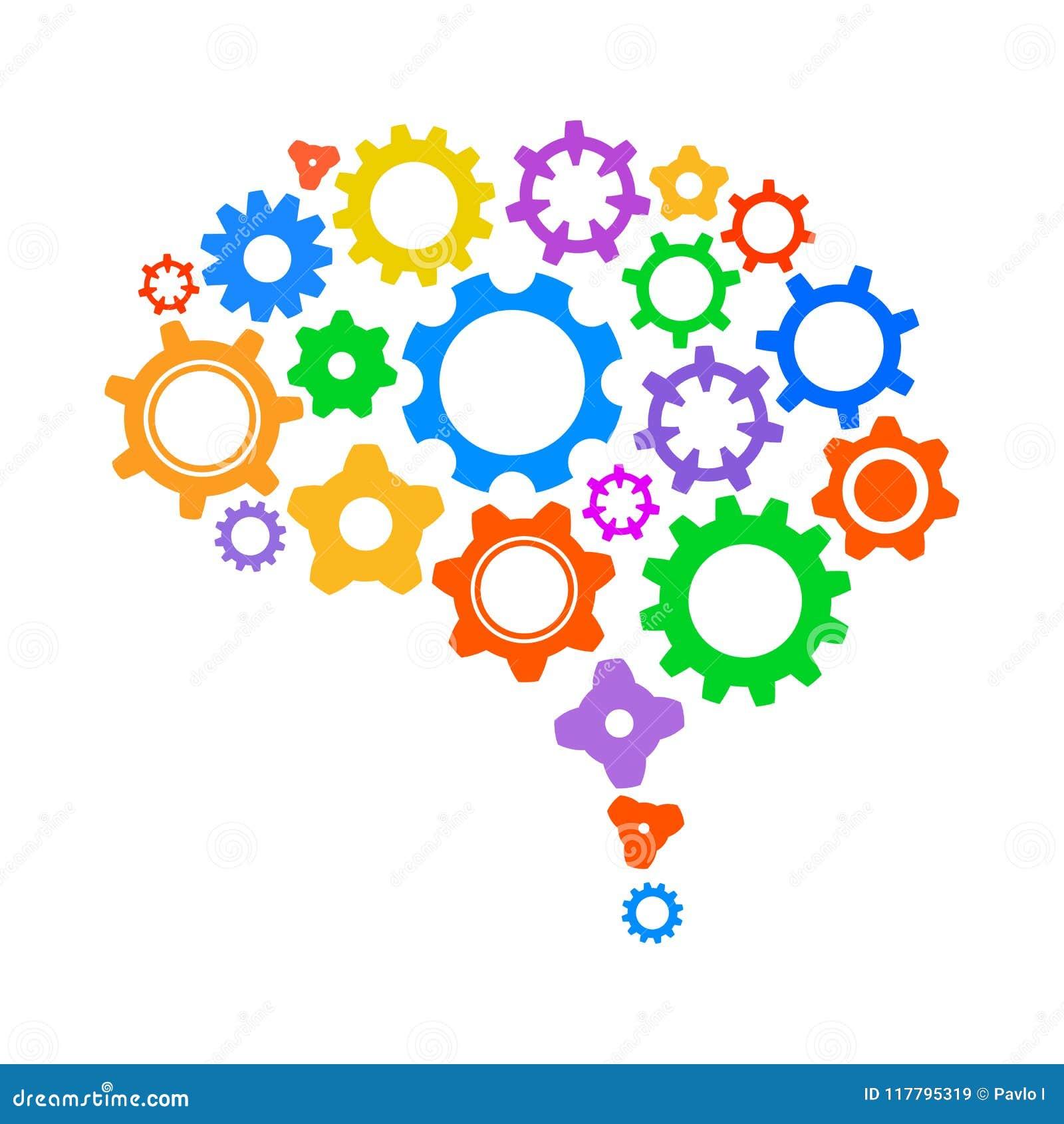 Concepto creativo el cerebro humano del engranaje - vector