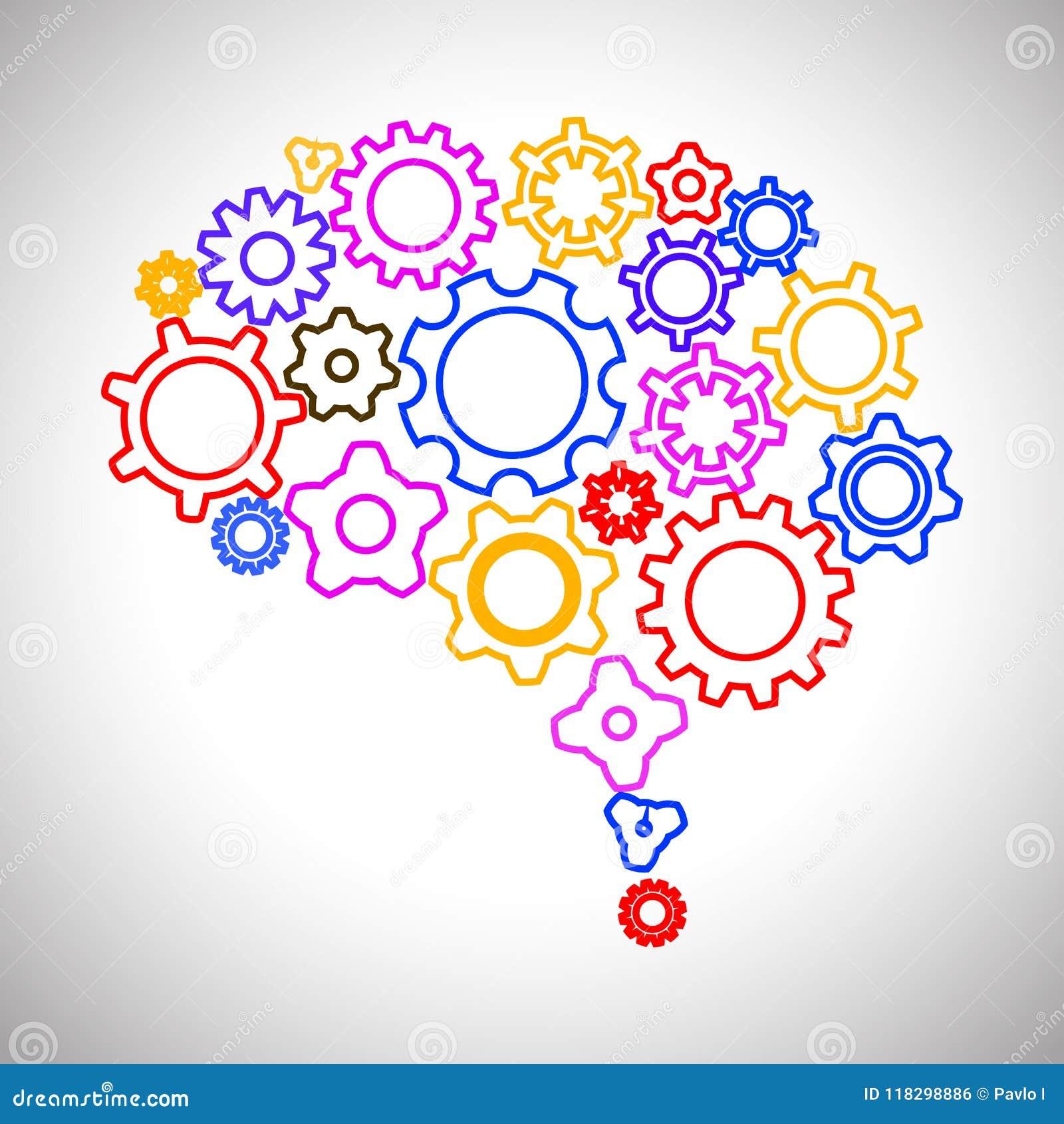 Concepto creativo el cerebro humano del engranaje - vector el ejemplo