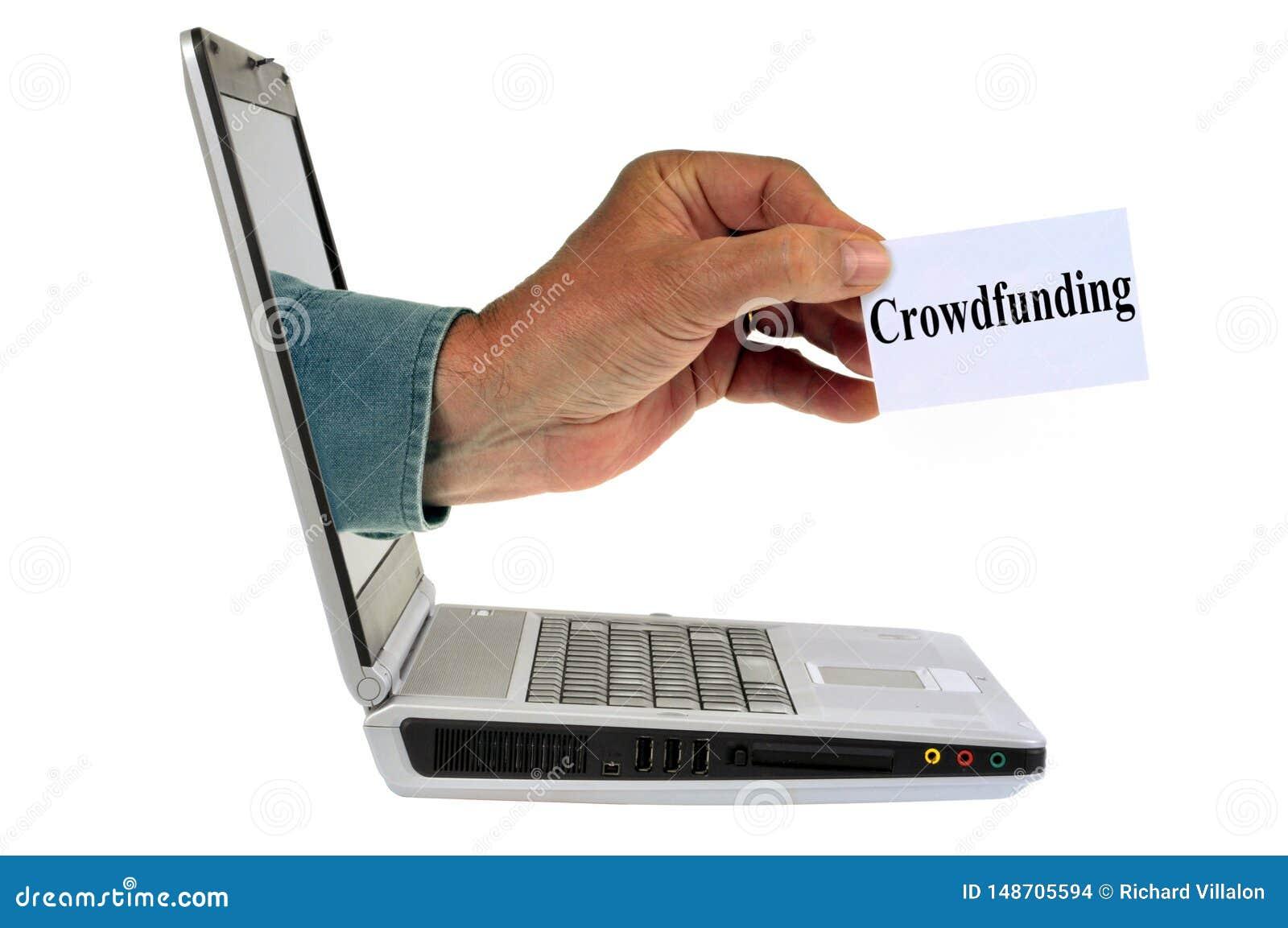Concepto crowdfunding en línea