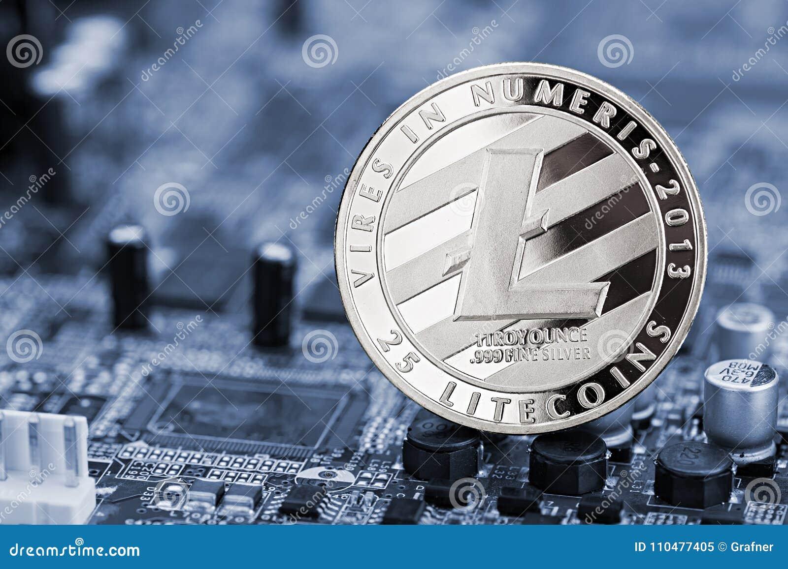 Concepto crypto de la explotación minera del ordenador de la moneda de Litecoin