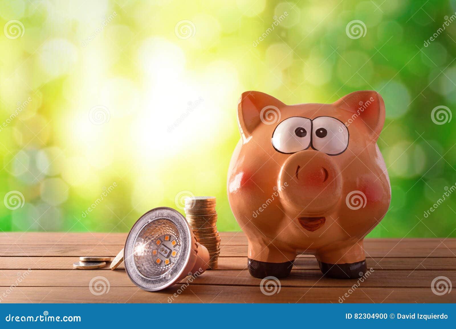 Concepto de ahorro de la energía y eficacia con el bulbo llevado