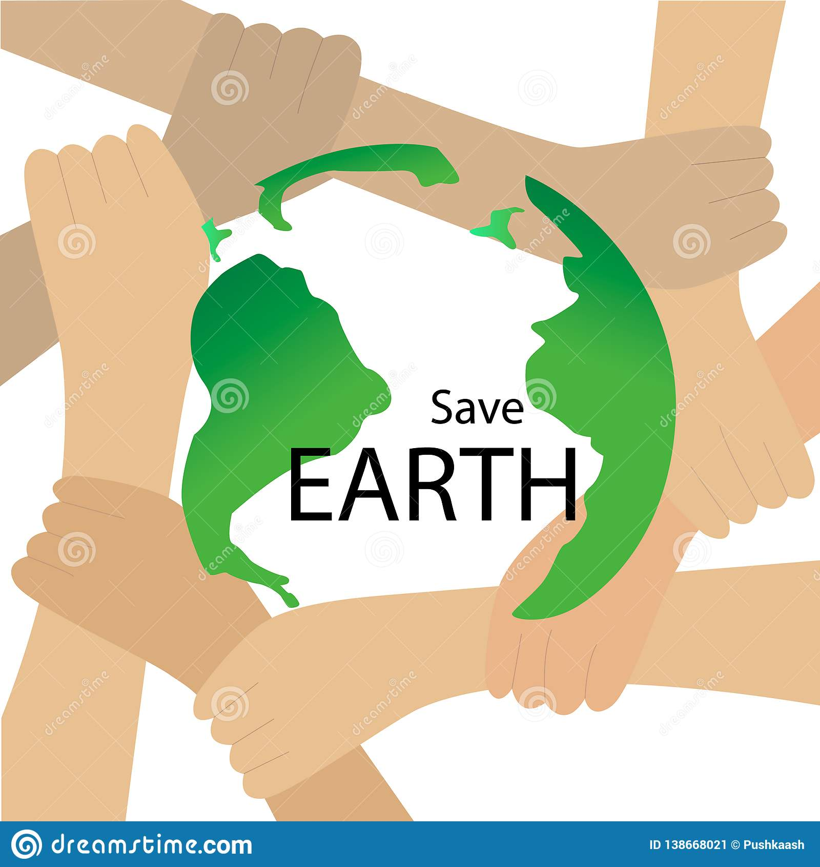 Concepto de ahorro del vector del planeta Tierra protegida por las manos
