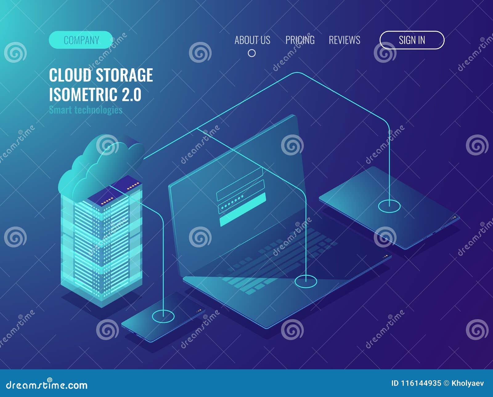 Concepto de almacenamiento de la nube, transferencia de datos Sitio del servidor, vector isométrico 3d del centro de datos grande