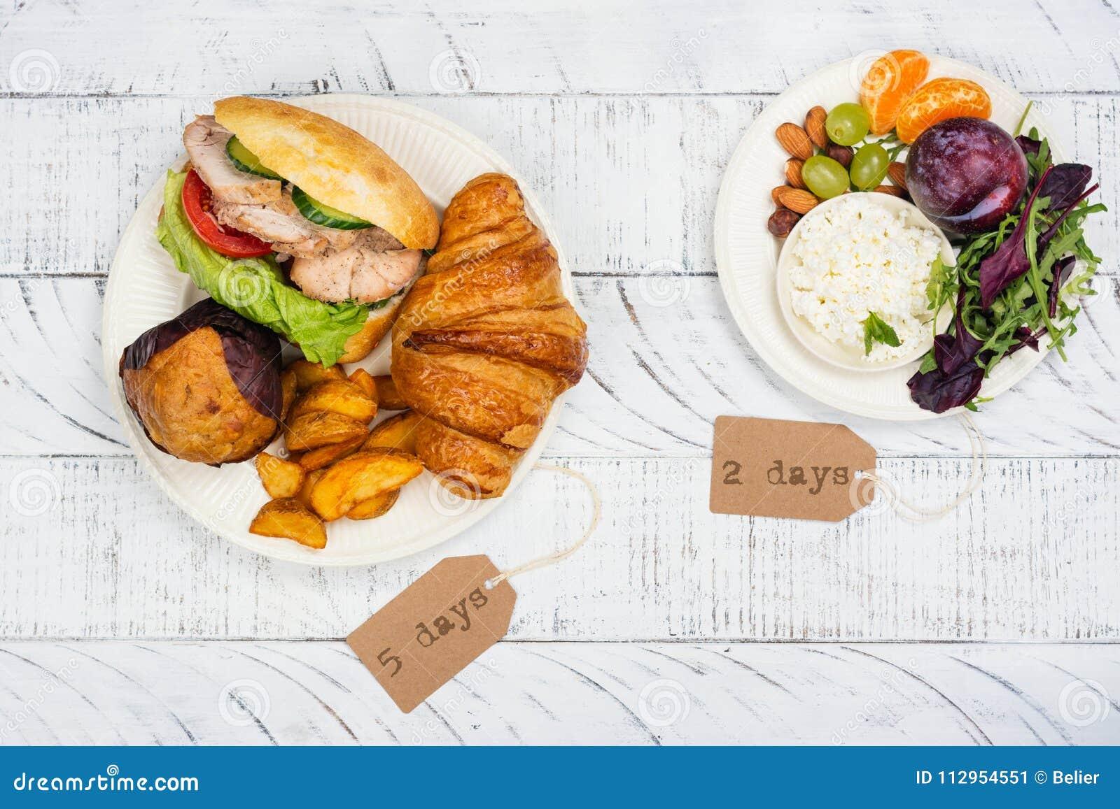 Concepto de ayuno de la dieta del 5:2