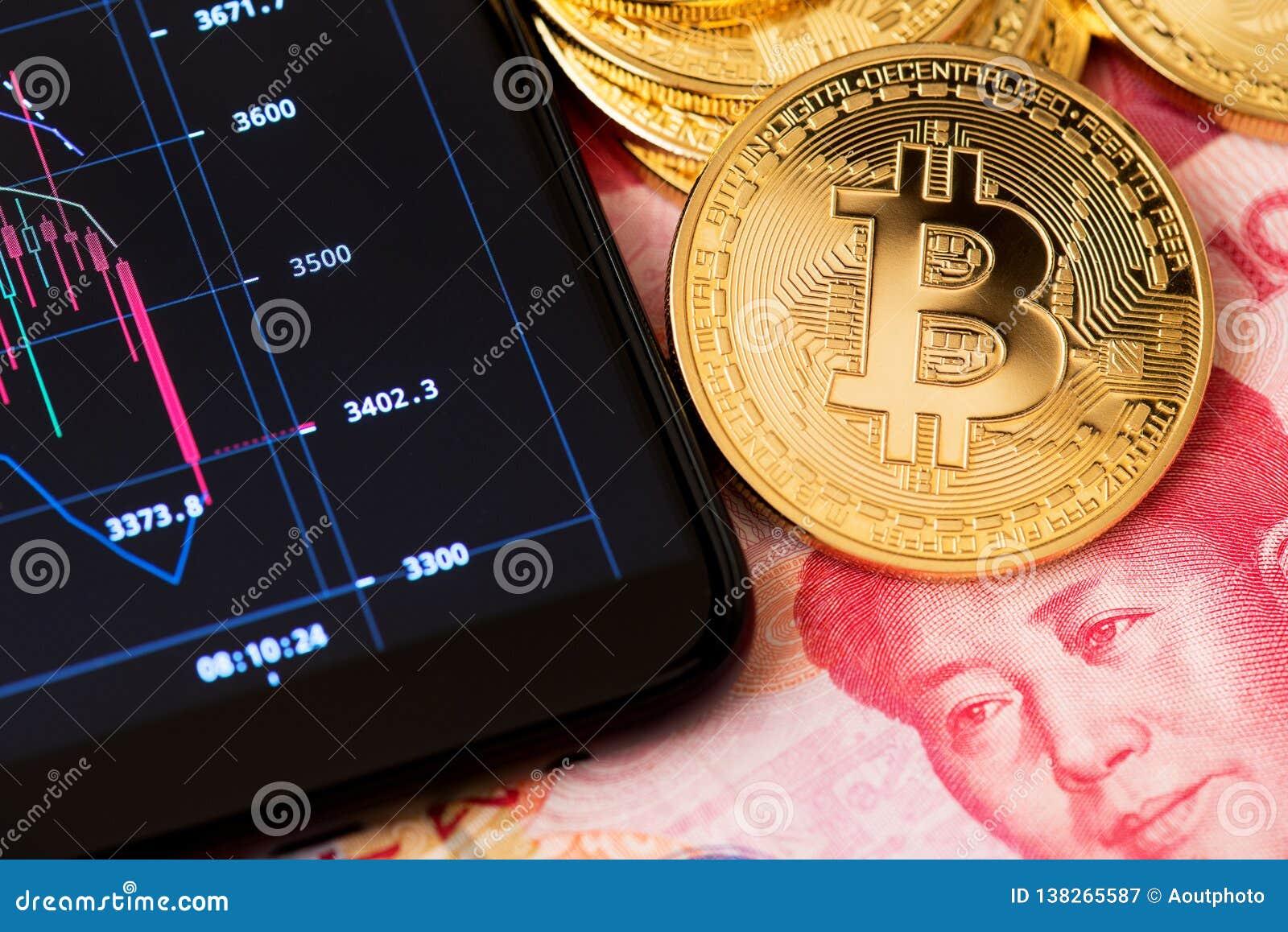 Concepto de Bitcoin Blockchain en línea que deposita y cierre de comercio encima de China del bitcoin del yuan de Renminbi