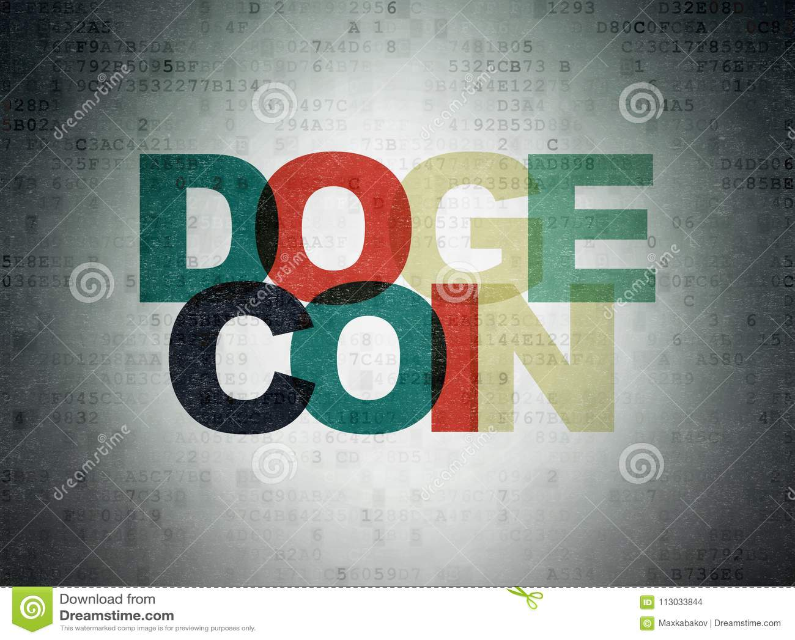 Concepto de Blockchain: Dogecoin en fondo del papel de datos de Digitaces