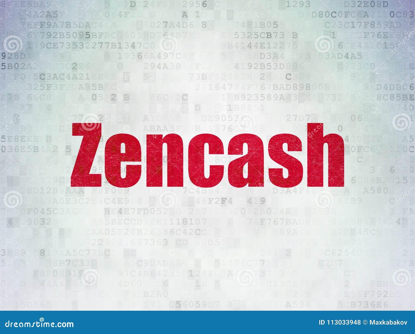 Concepto de Blockchain: Zencash en fondo del papel de datos de Digitaces