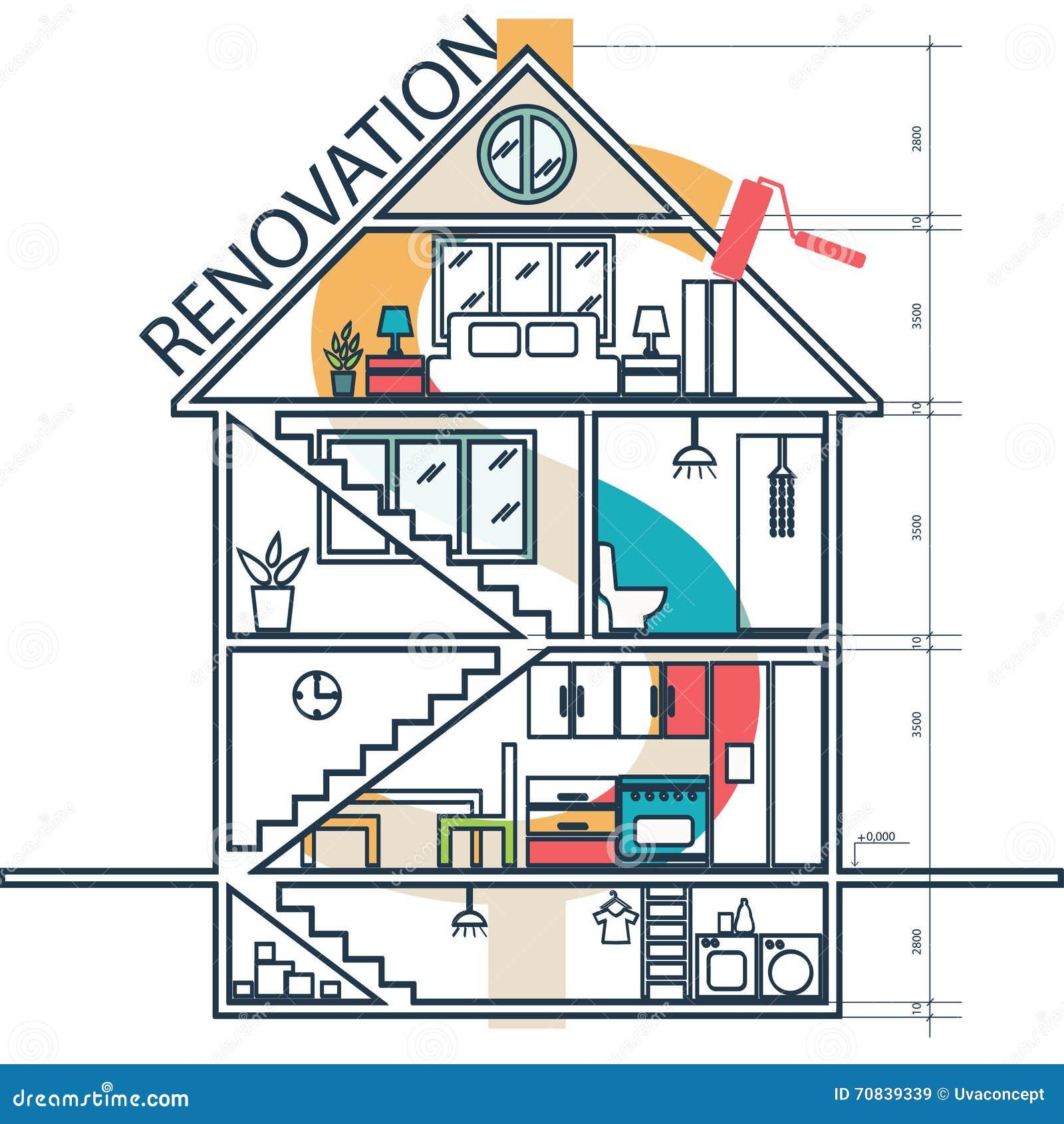 Concepto de casa que remodela infographic Vector