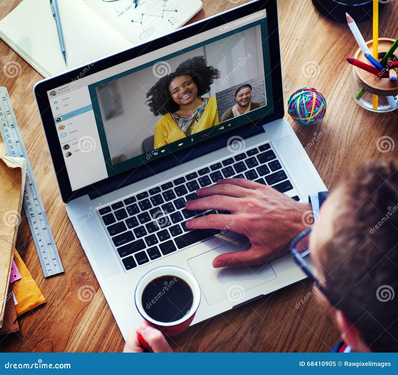 Concepto de charla de la comunicación de Facetime de la llamada video