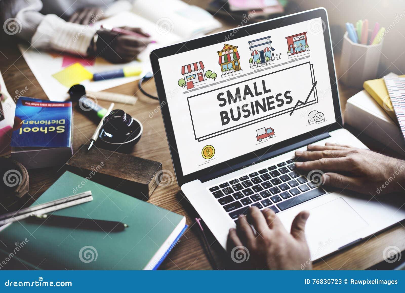 Concepto de comercialización de la empresa de la pequeña estrategia empresarial