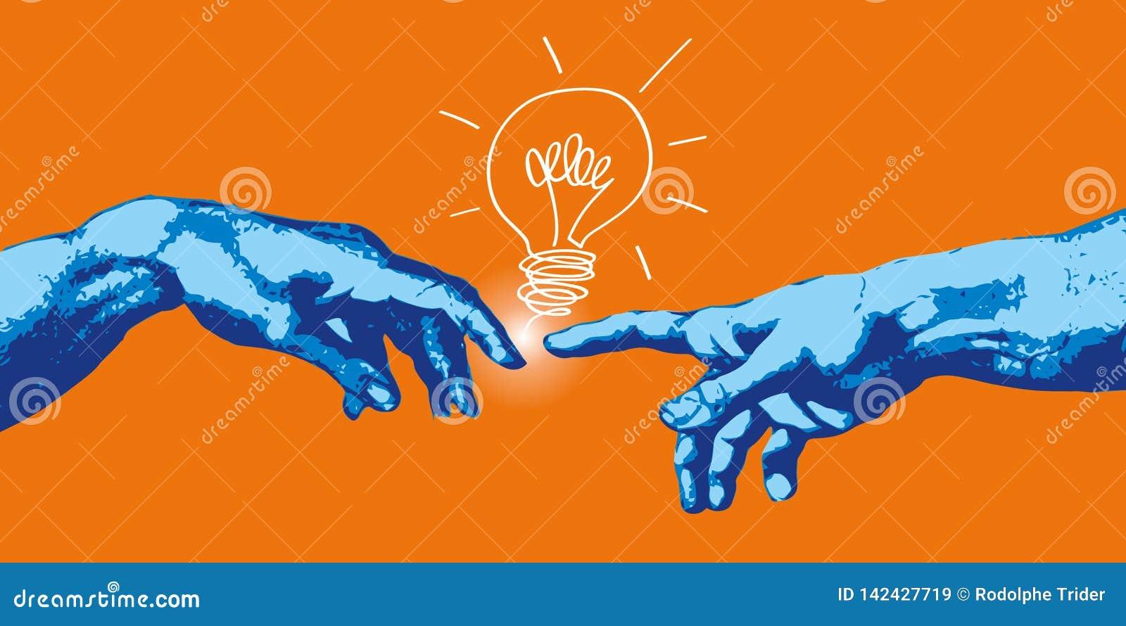 Concepto de creación y de comunicación, con las manos de Adán y de dios que encuentra una idea