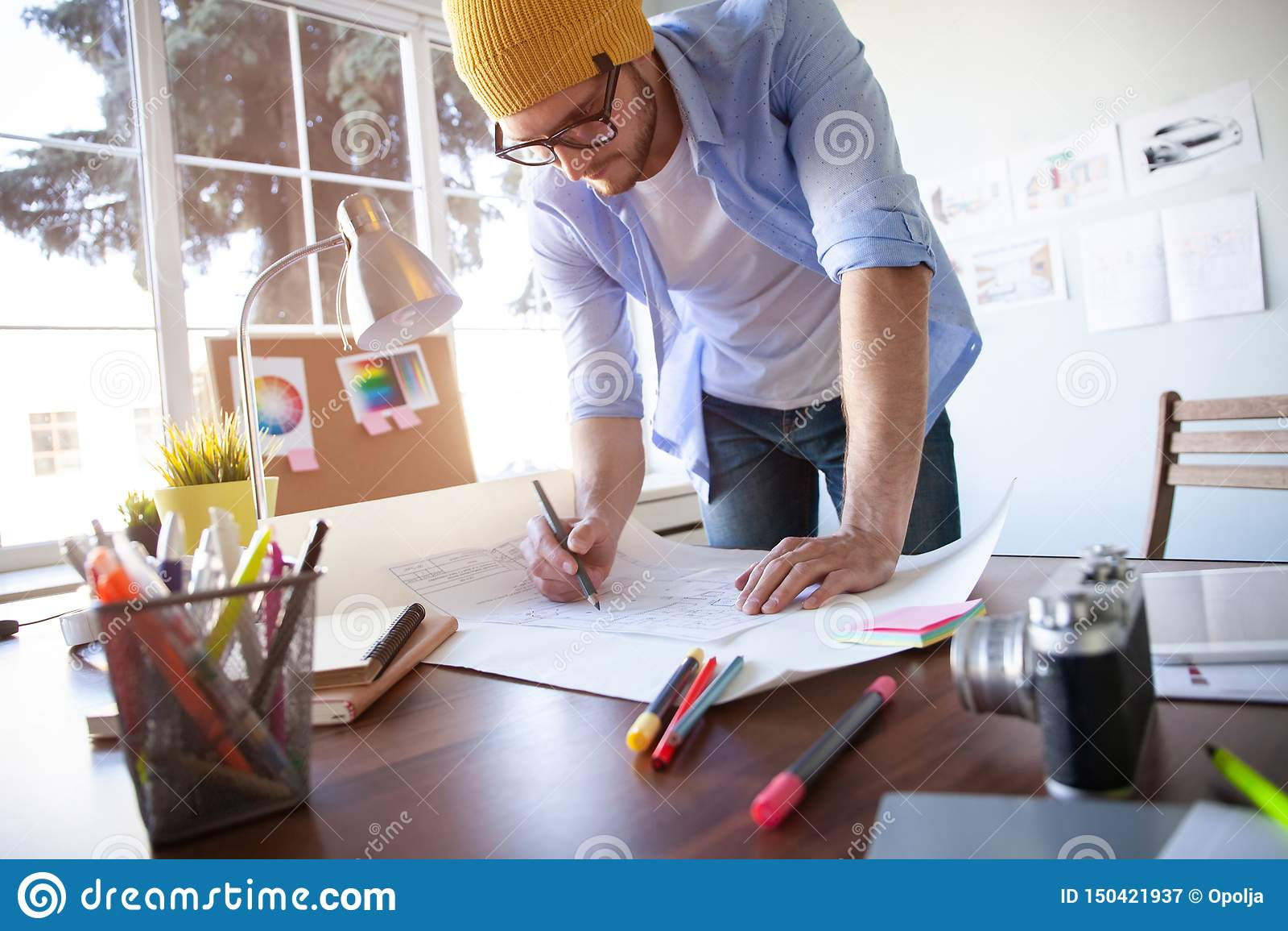 Concepto de Creative Occupation Blueprint del arquitecto del estudio del dise?o