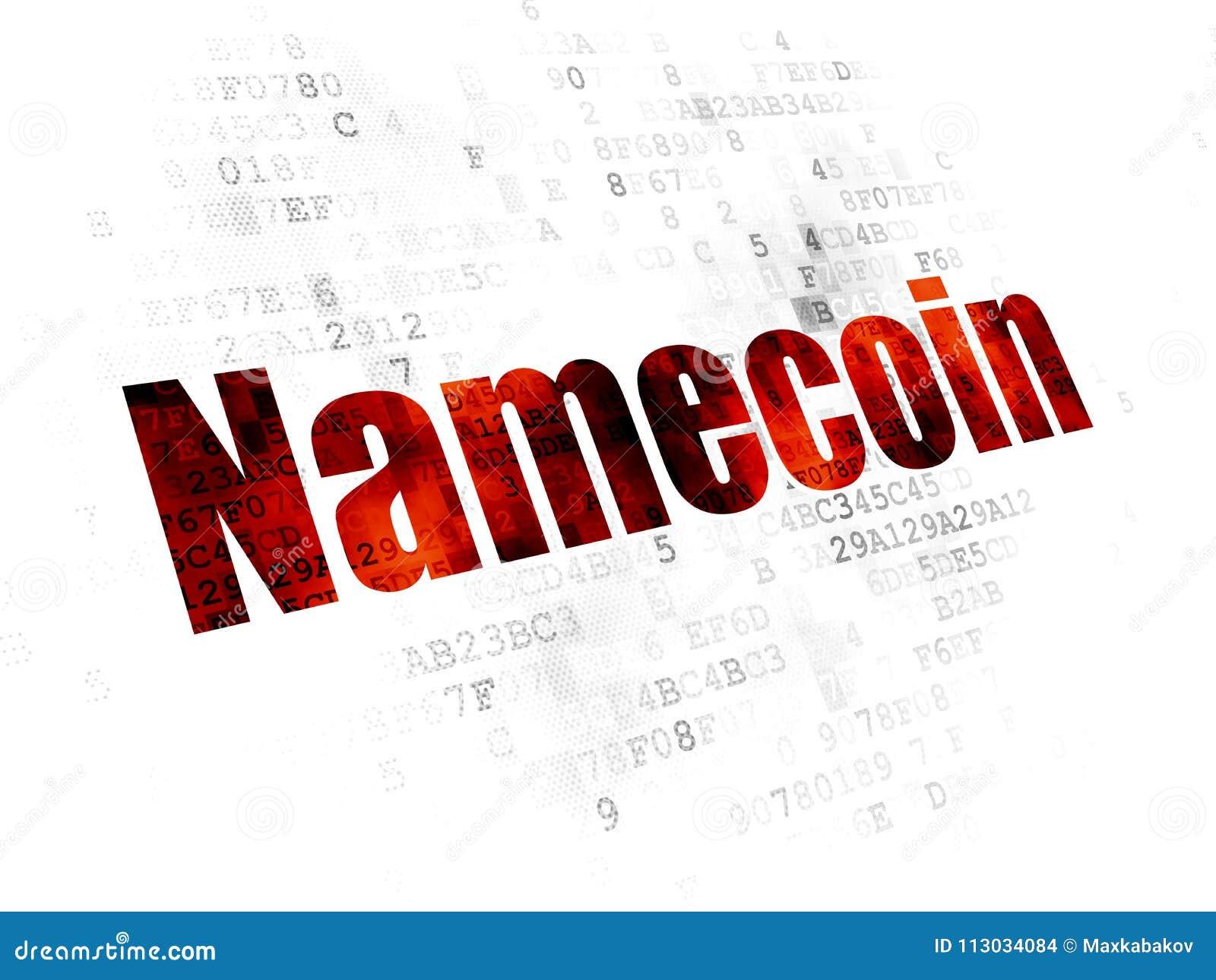Concepto de Cryptocurrency: Namecoin en el fondo de Digitaces