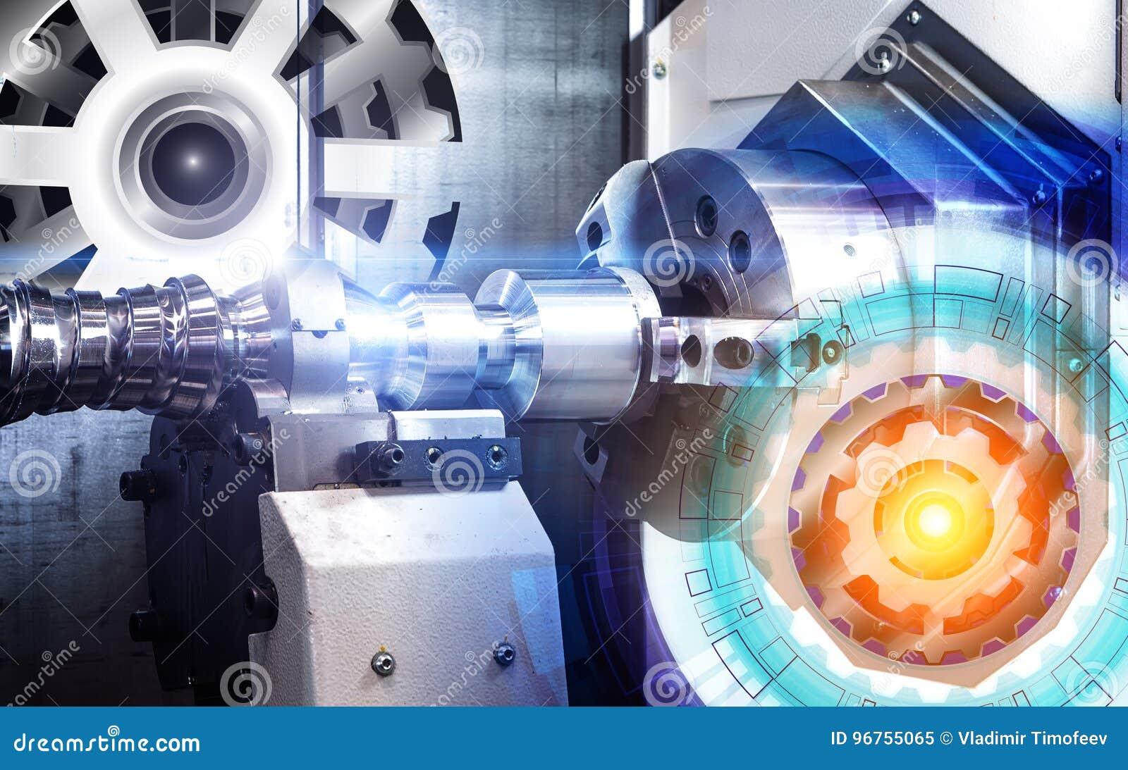 Concepto de dibujo abstracto de engranajes y de la máquina moderna automatizada con el CNC del control numérico