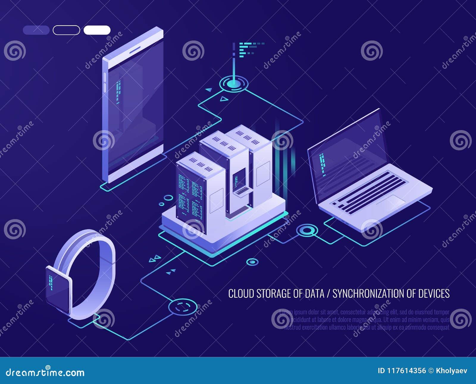 Concepto de dirección de la red de datos Vector el mapa isométrico con los servidores, los ordenadores y los dispositivos del est