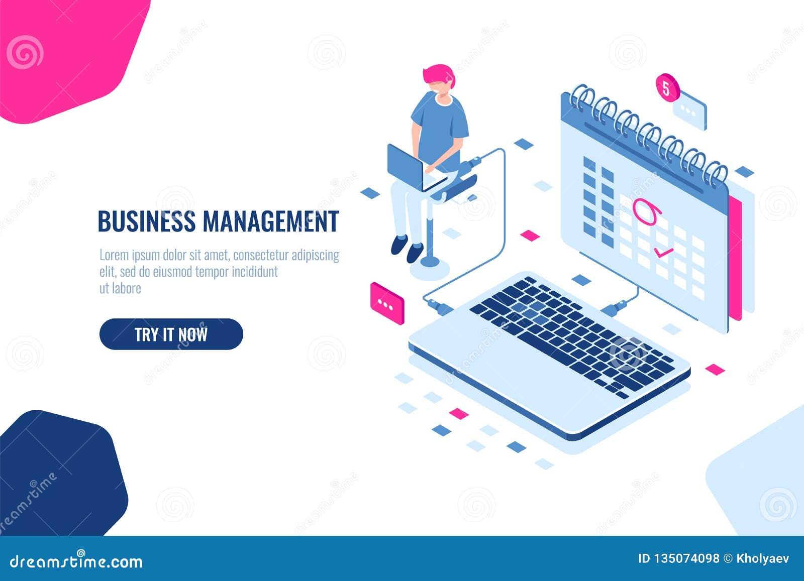 Concepto de director empresarial, horario en calendario, asunto y acontecimiento importantes en el calendario, tarea en línea de