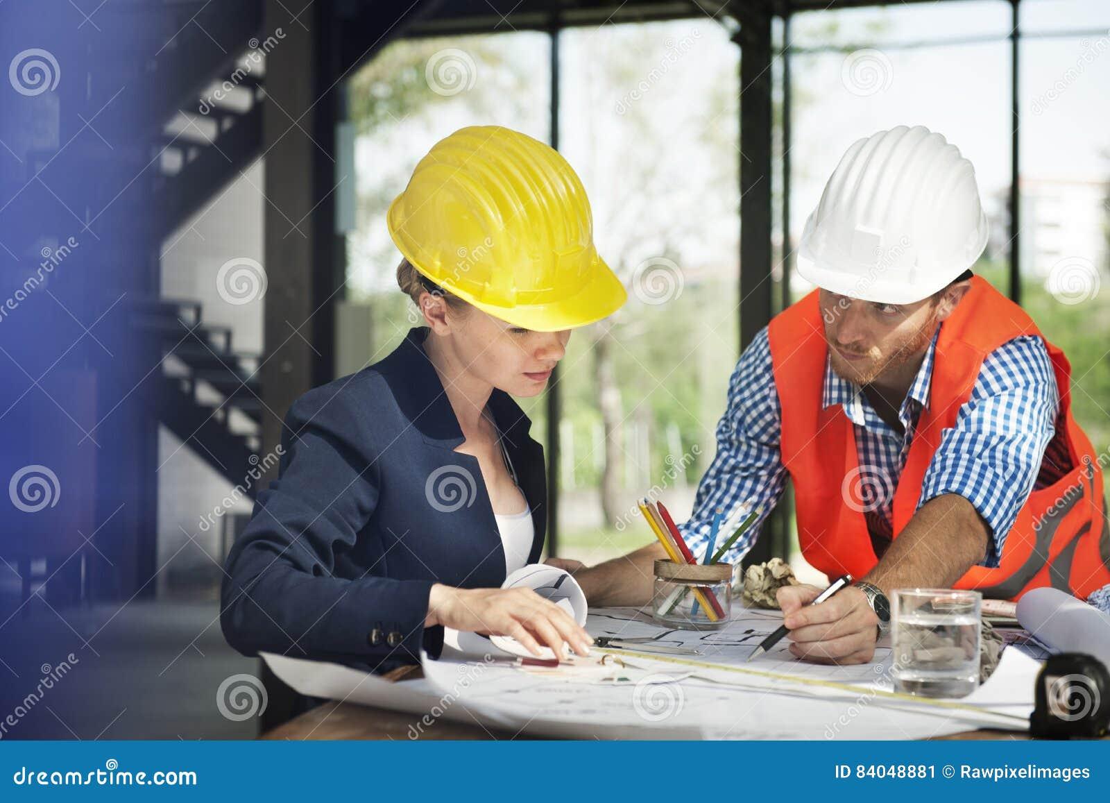 Concepto de Discussion Brainstorming Construction del ingeniero del arquitecto