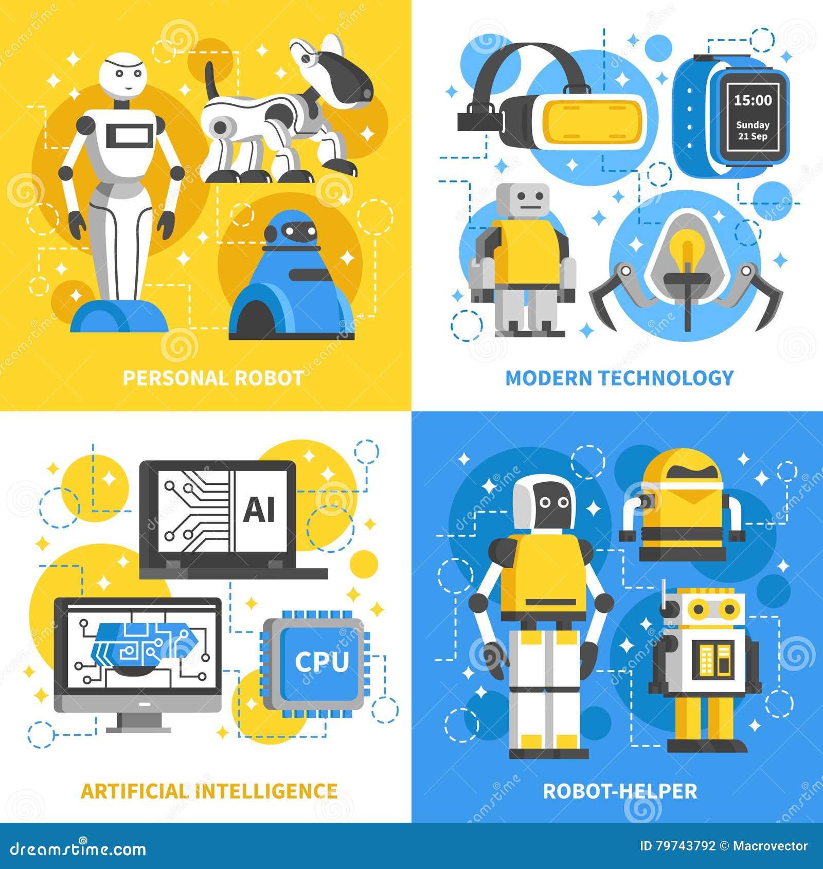 Concepto de diseño de la inteligencia artificial 2x2