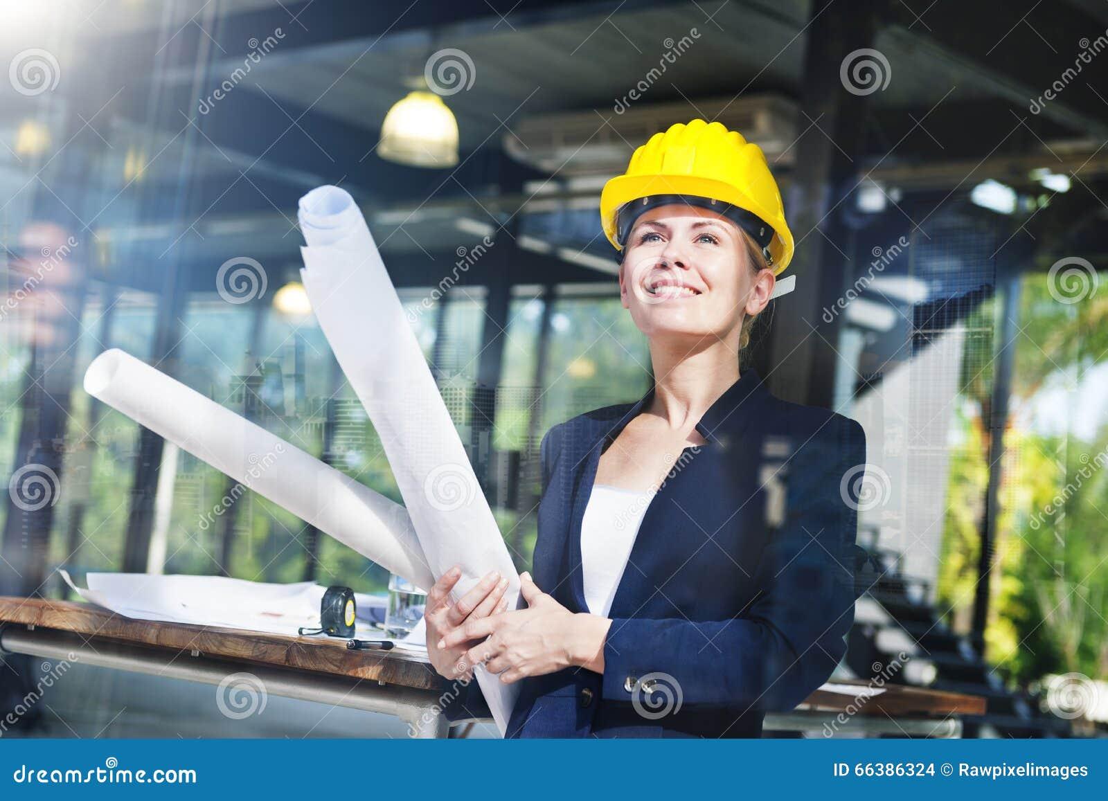 Concepto de diseño interior de la inspiración de la mujer de la ingeniería