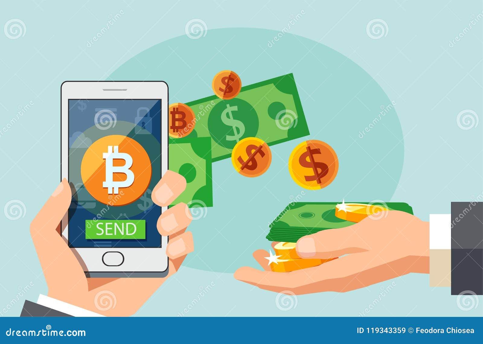 Concepto de diseño moderno plano de la tecnología del cryptocurrency, intercambio del bitcoin, actividades bancarias móviles Mano