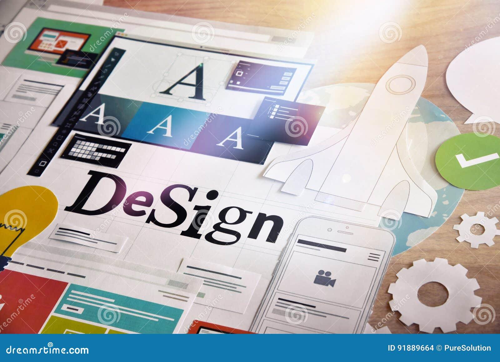 Concepto de diseño para los servicios de los diseñadores gráficos y de las agencias del diseño