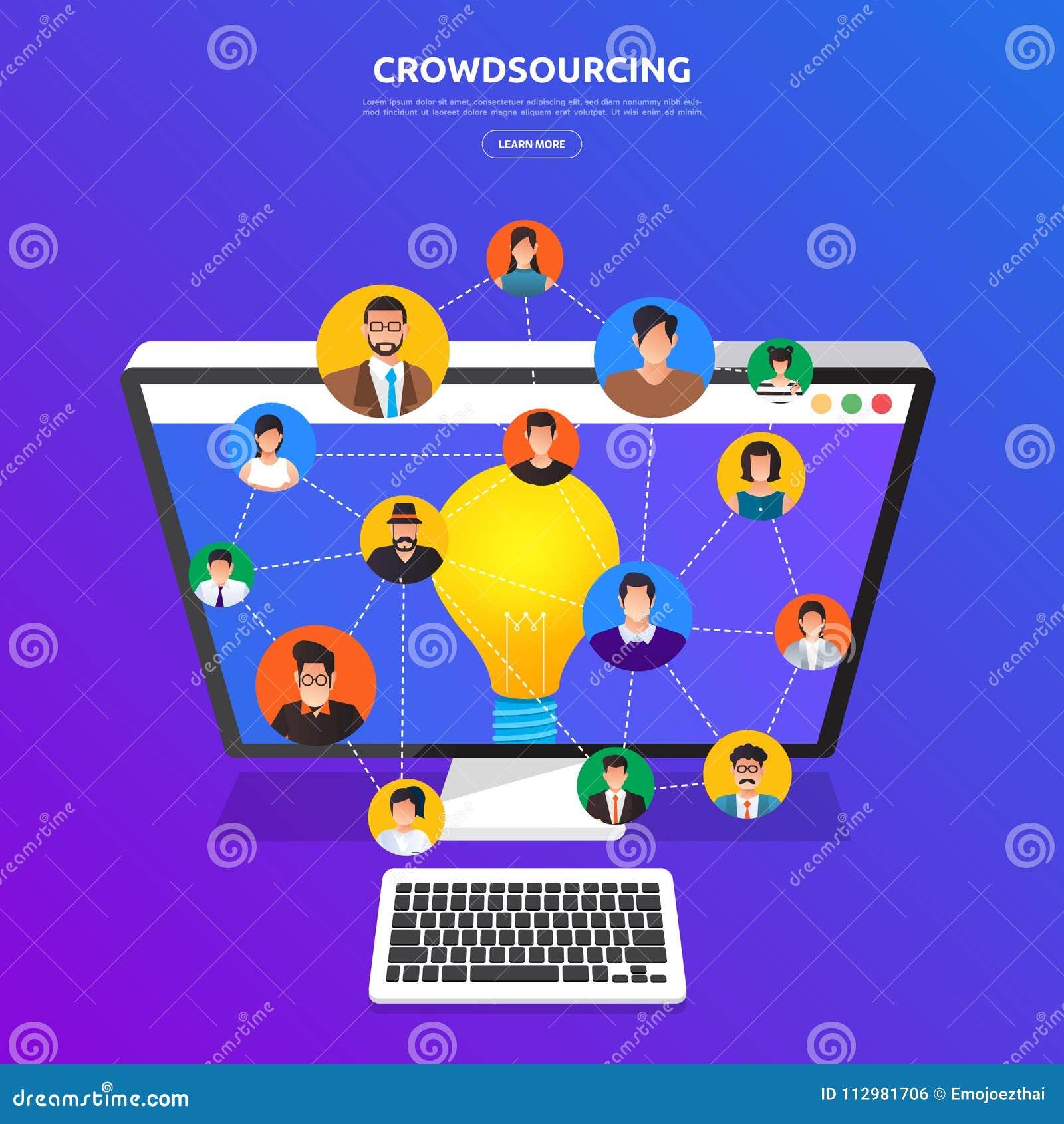 Concepto de diseño plano crowdsourcing El vector ilustra