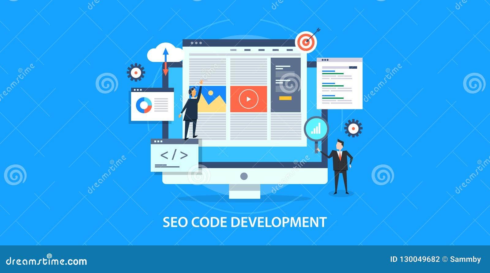 Concepto de diseño plano de la optimización del Search Engine, desarrollo del seo de la página web