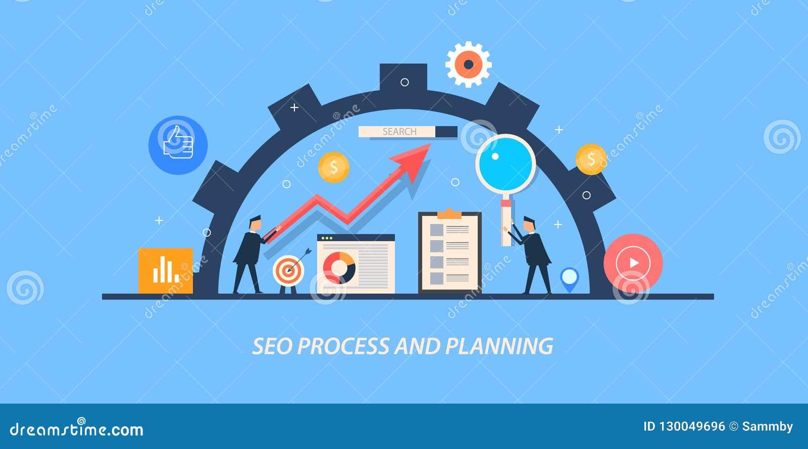 Concepto de diseño plano de la optimización del Search Engine, hombres de negocios que planean un proceso en curso del seo