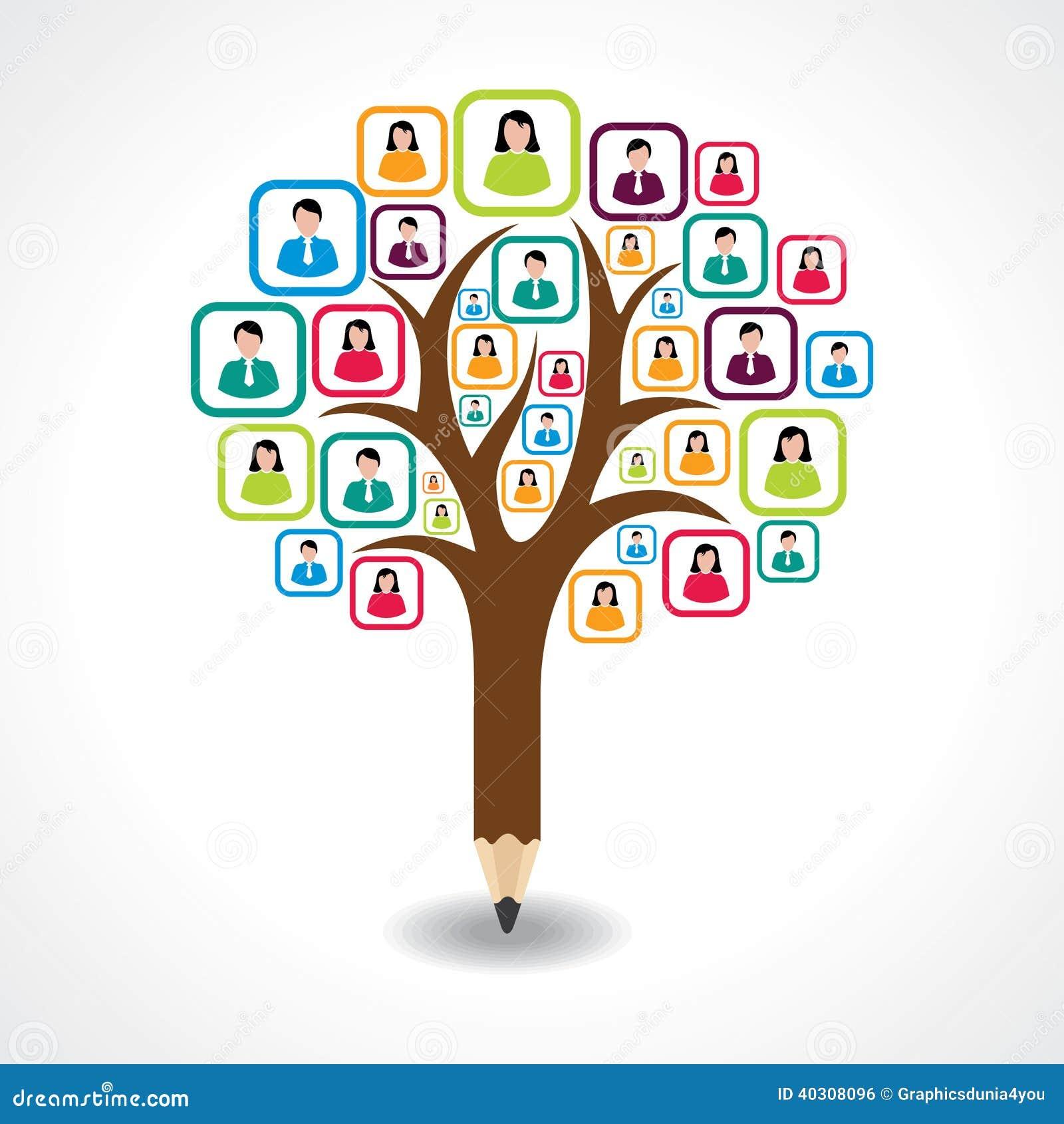 Concepto de diseño social creativo del árbol de la gente