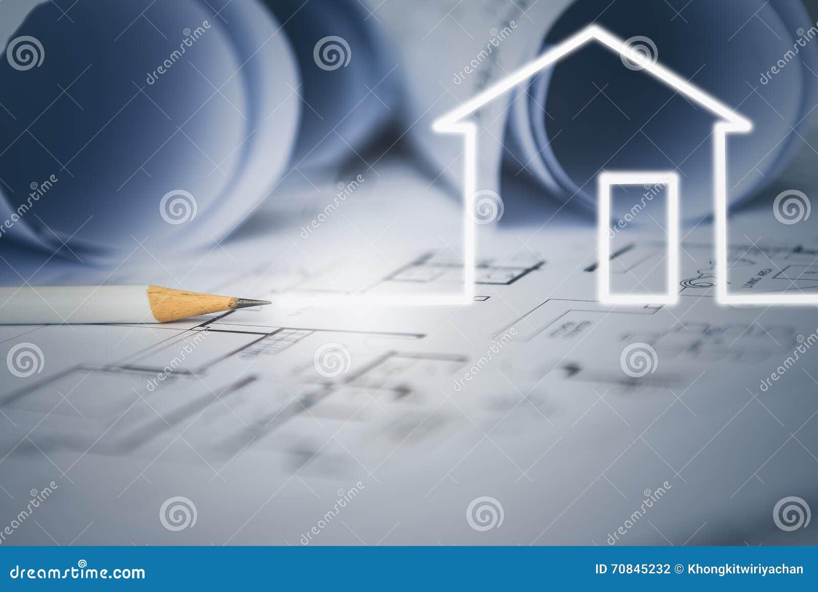 concepto de drenaje de la casa ideal del diseador con el dibujo de construccin foto de
