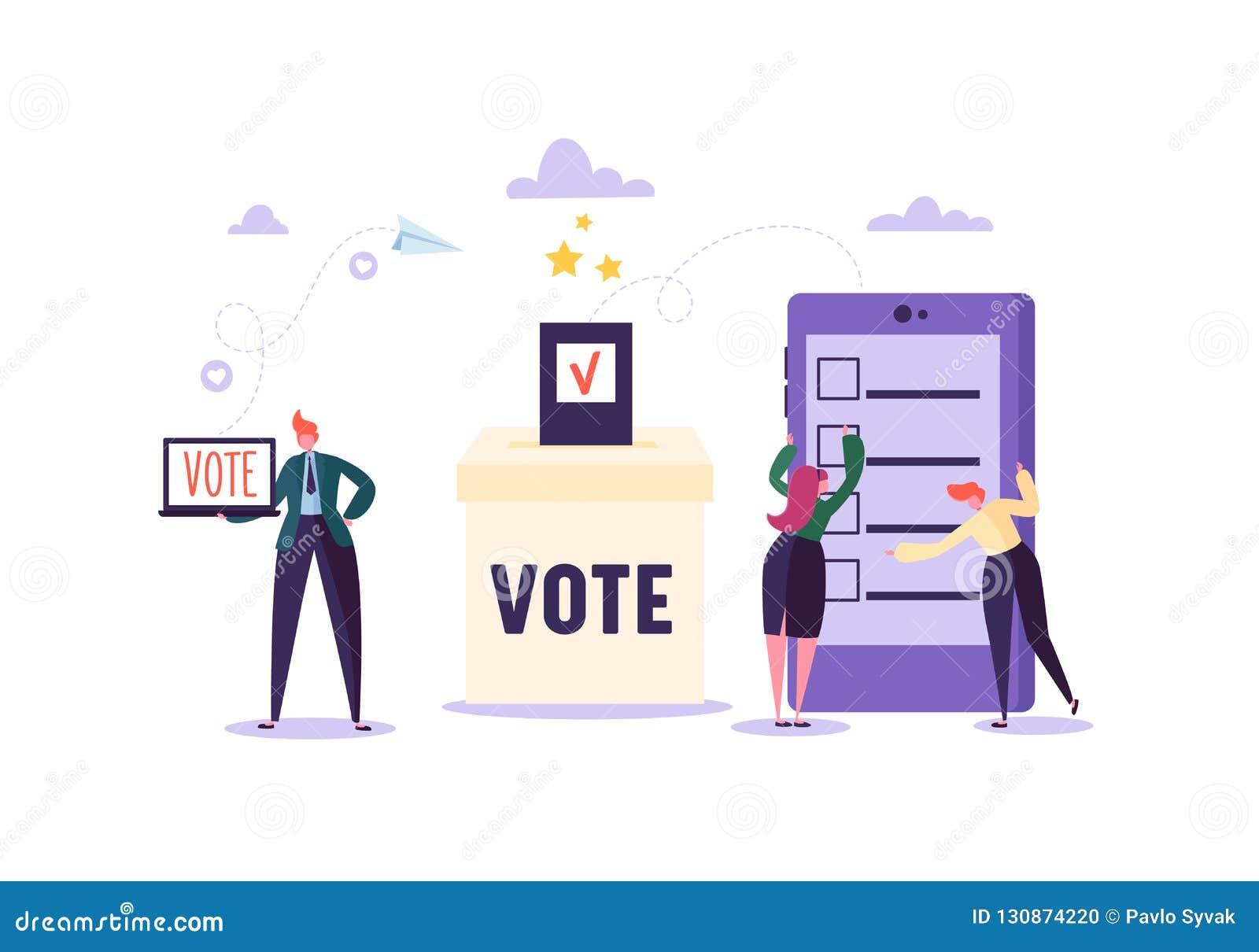 Concepto de E-votación con los caracteres que votan usando el ordenador portátil y la tableta vía sistema electrónico de Internet