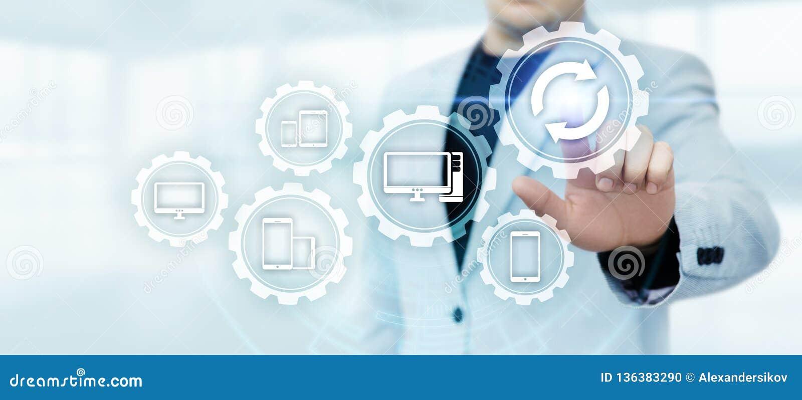 Concepto de Internet de la tecnología del negocio de la mejora del programa de computadora del software de la actualización