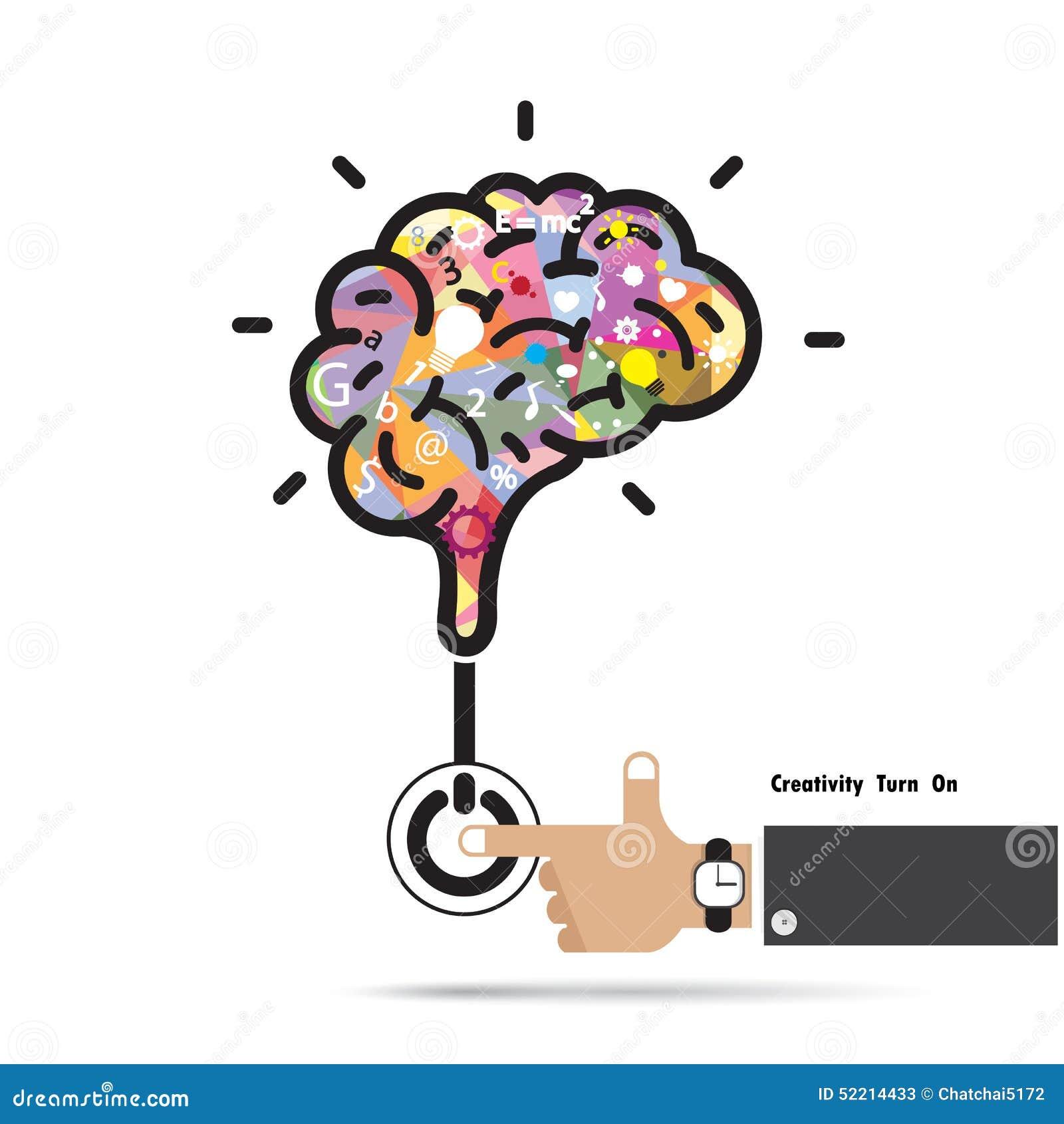 Concepto de la abertura del cerebro Diseño creativo del logotipo del vector del extracto del cerebro
