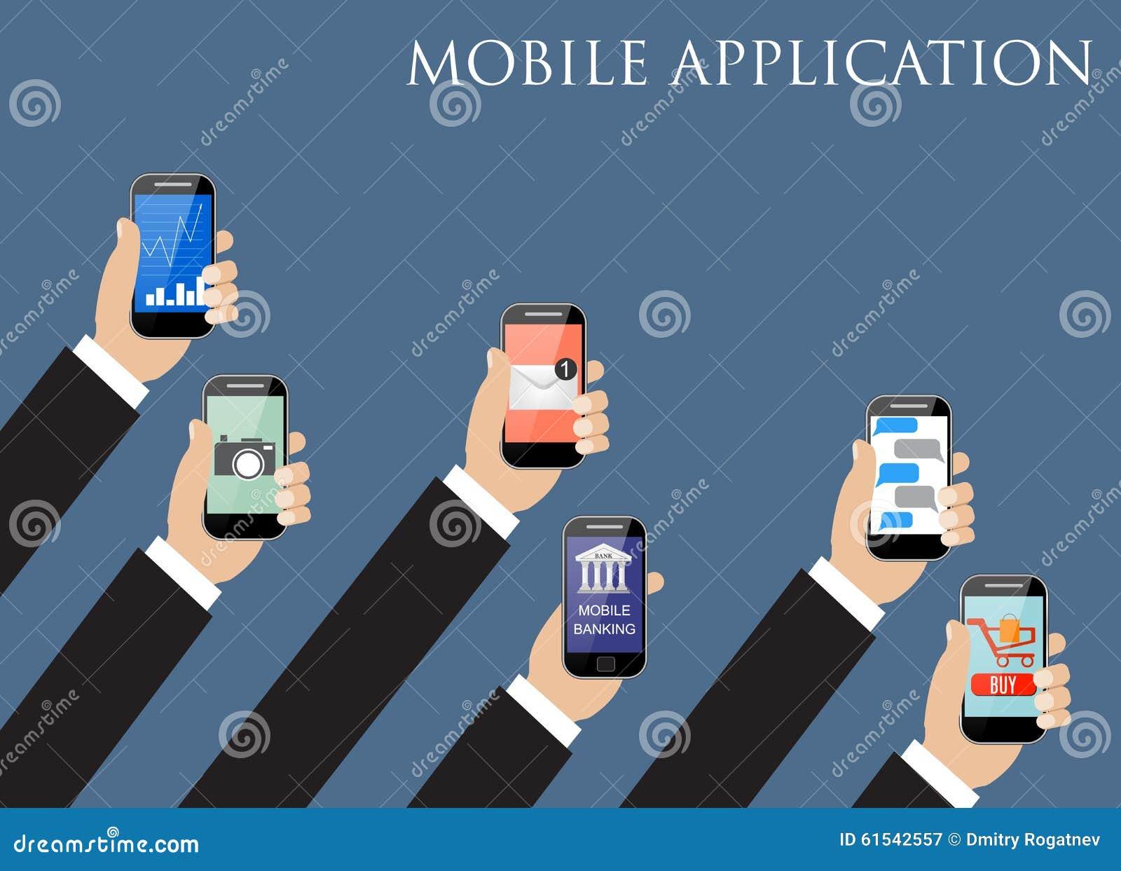 Concepto de la aplicación móvil Manos que sostienen los teléfonos