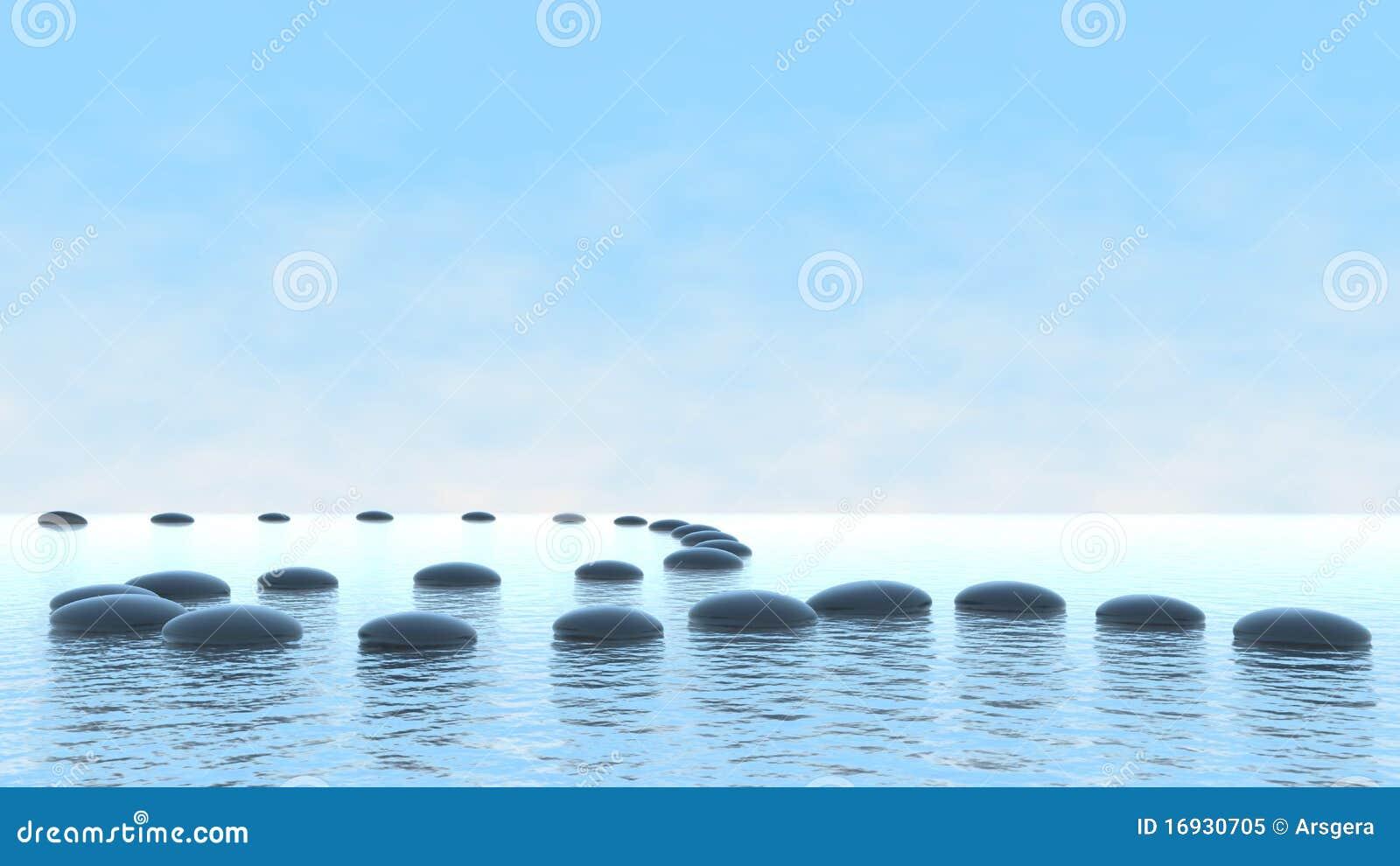 Concepto de la armonía. Camino del guijarro en el agua