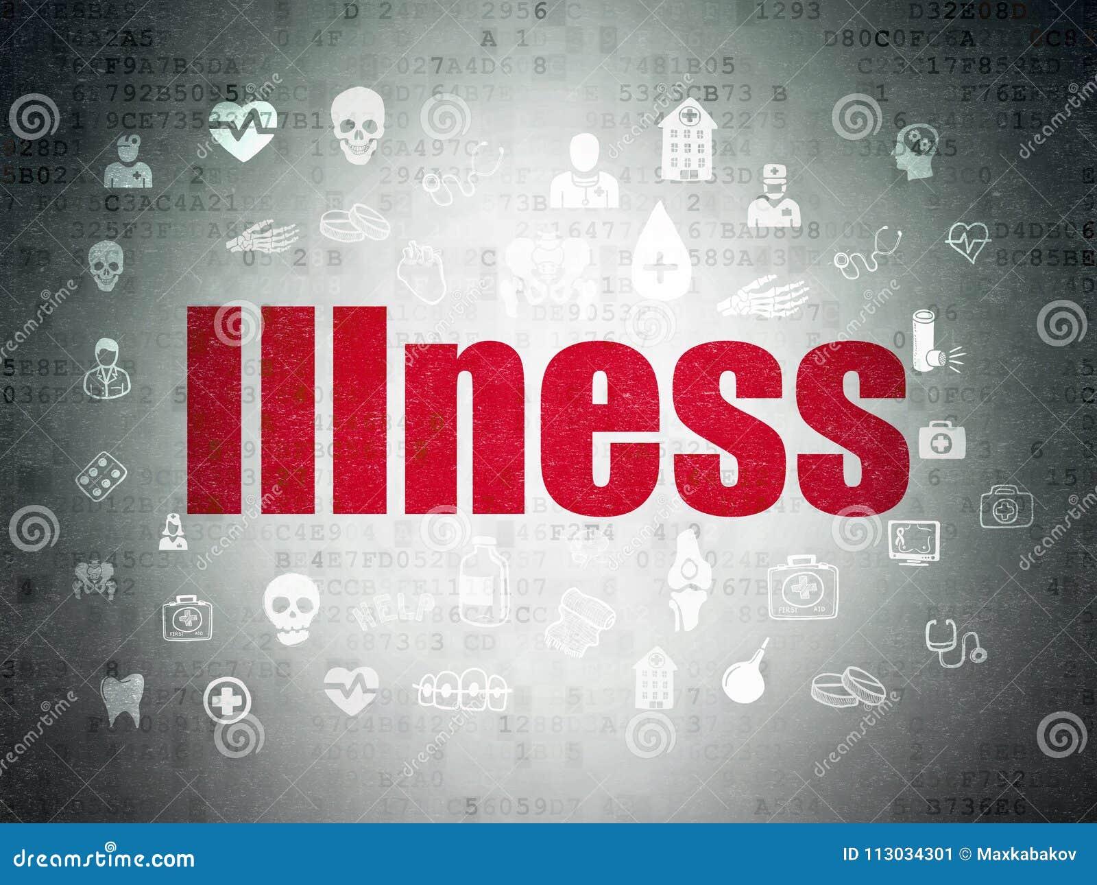 Concepto de la atención sanitaria: Enfermedad en fondo del papel de datos de Digitaces