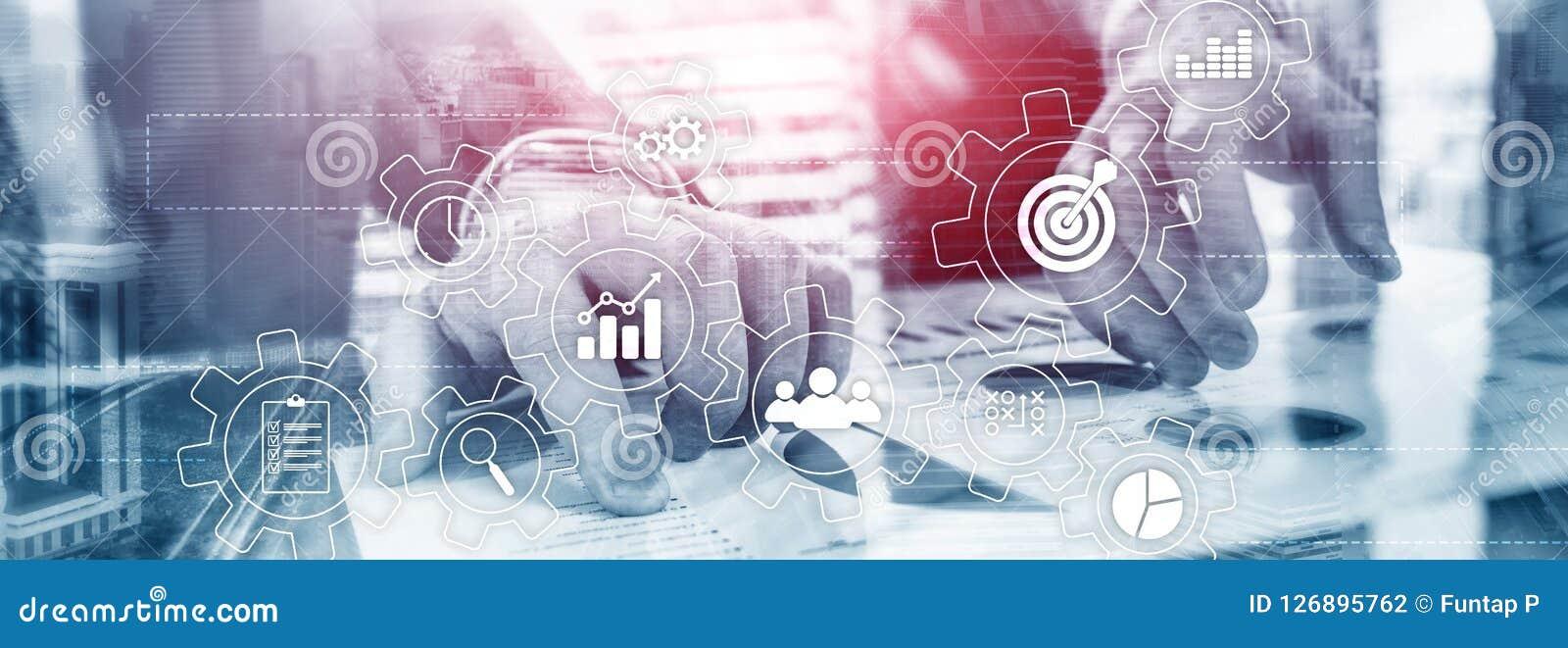 Concepto de la automatización de proceso de negocio Engranajes e iconos en fondo abstracto