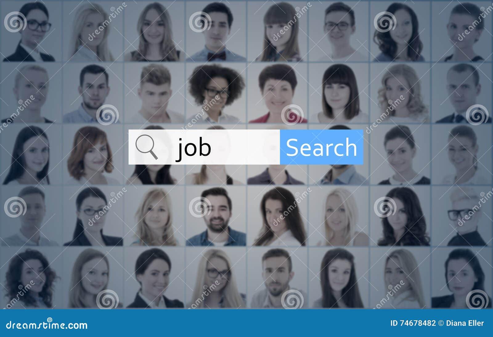 Concepto de la búsqueda de Internet y de trabajo - busque la barra sobre el collage del peo