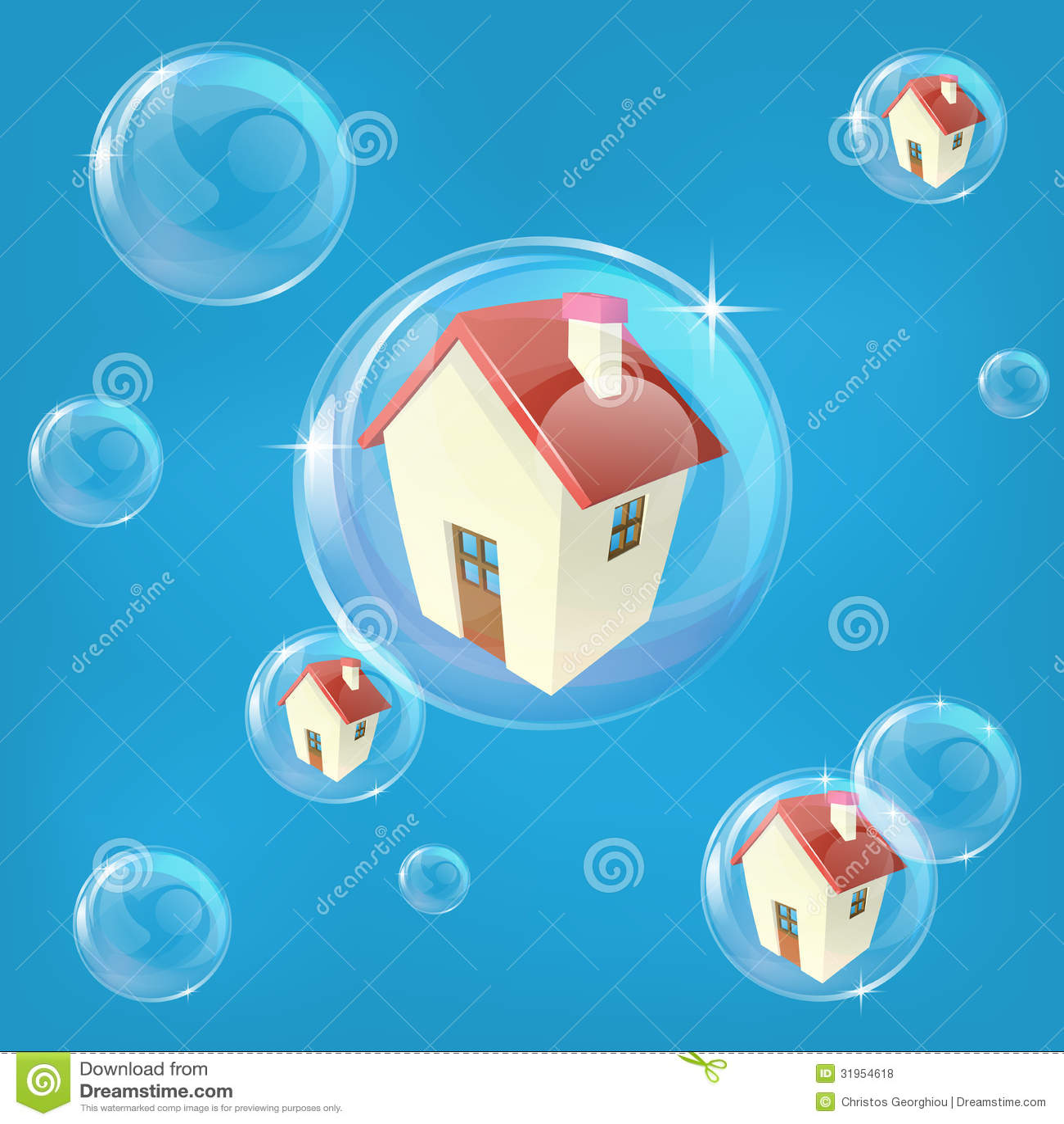 Concepto de la burbuja de vivienda