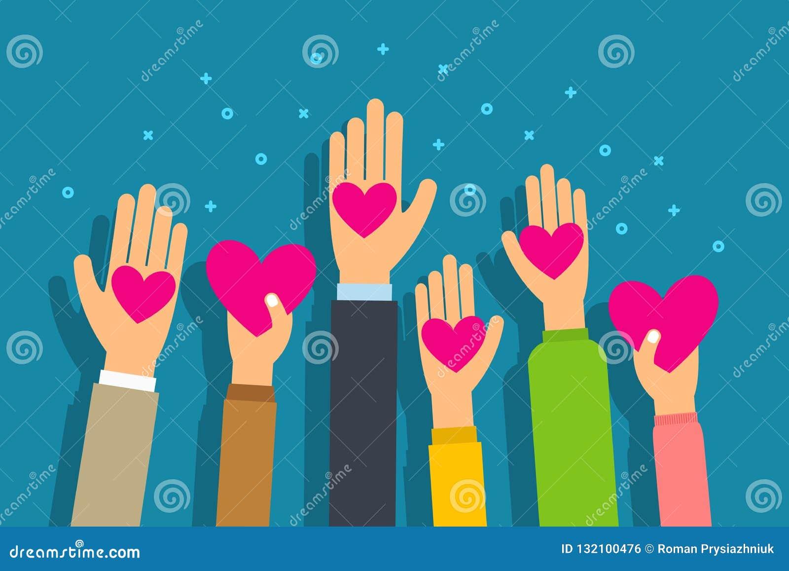 Concepto de la caridad y de la donación La gente da corazones en mano de la palma Vector plano del estilo