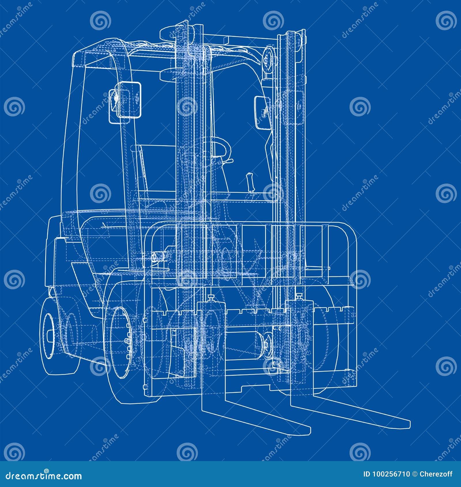 Concepto De La Carretilla Elevadora Vector Ilustración del Vector ...